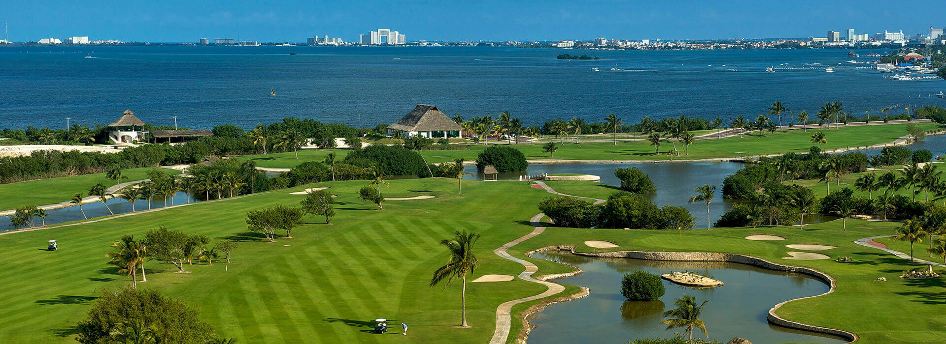 beautiful golf settings with water inlets