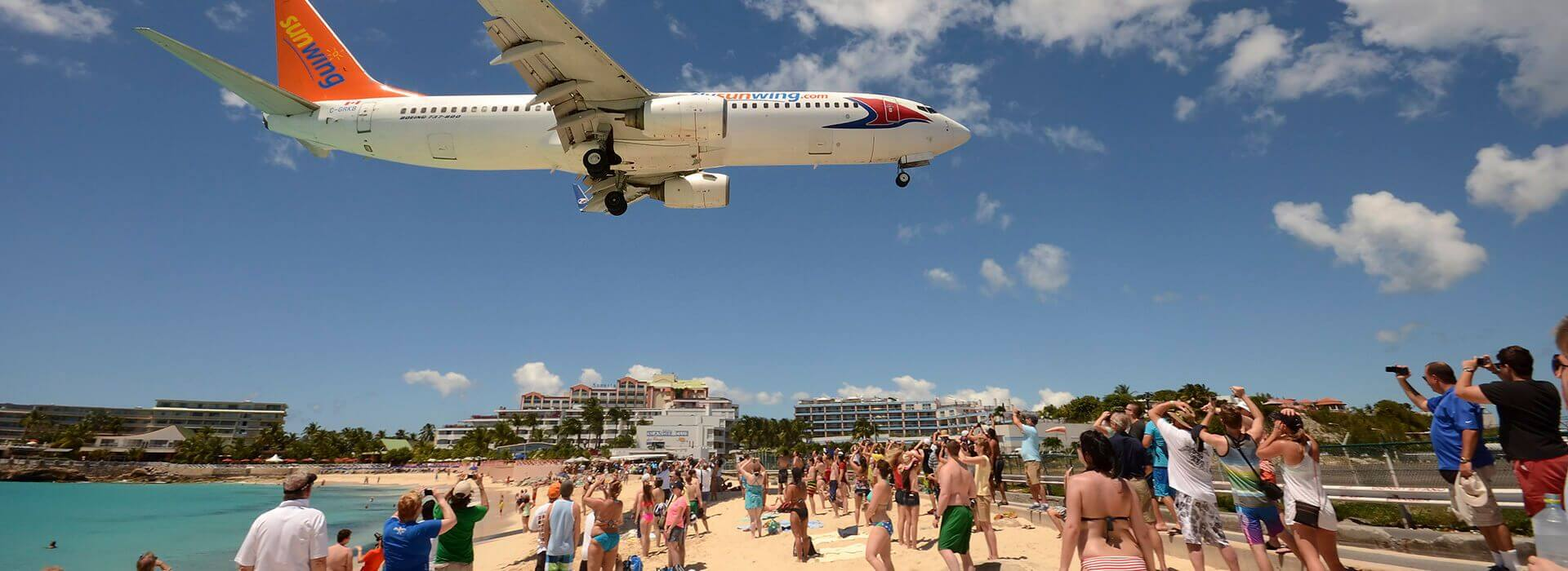 St Maarten airport by the beach