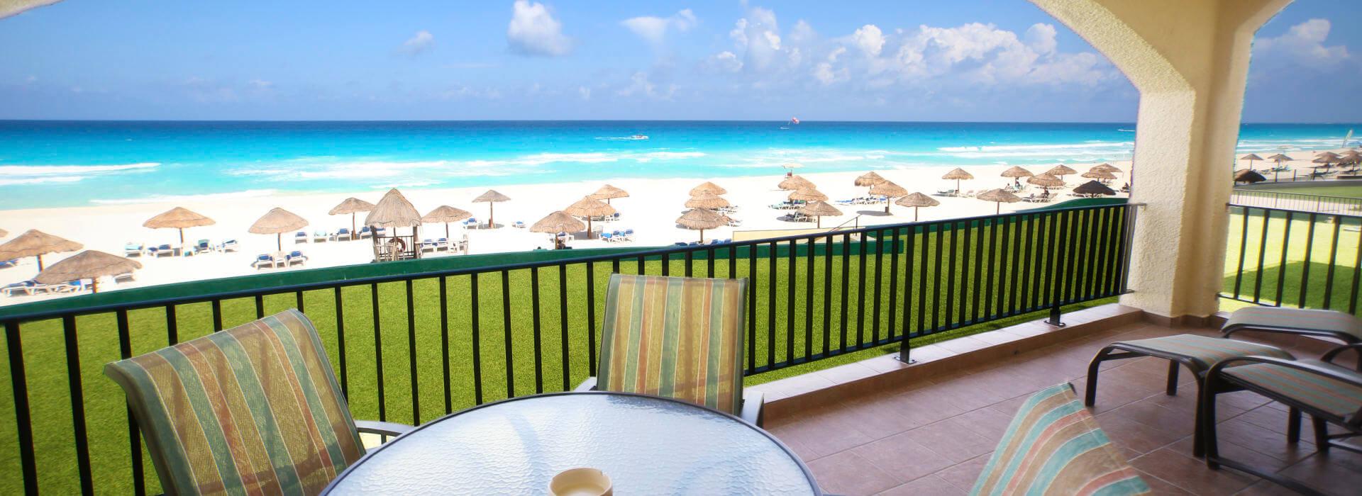 Beachfront balcony in a Cancun Resort