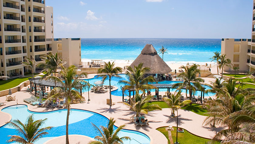 Spring Break in Mexico with Kids travel guide featured by top US family blogger, Marcie in Mommyland: Pool area at the Royal Sands Resort & Spa in Cancun Mexico